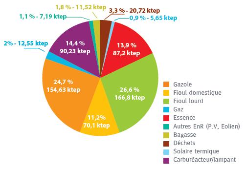 Graphique sur la répartition de la consommation d'énergie primaire. Voir descriptif détaillé ci-après